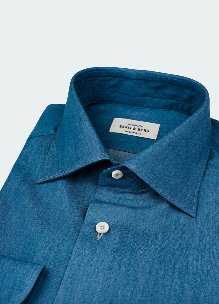Frank II Spread Collar Shirt - Denim Blue Berg&Berg