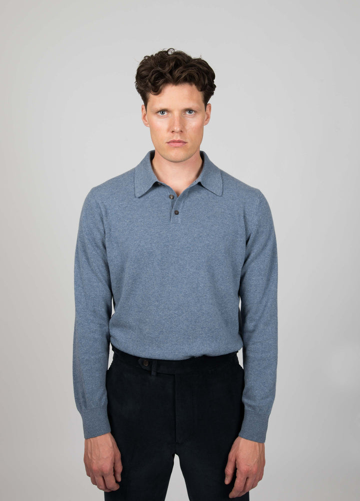 Bjarne Wool Cashmere Polo - Ice Blue Berg&Berg