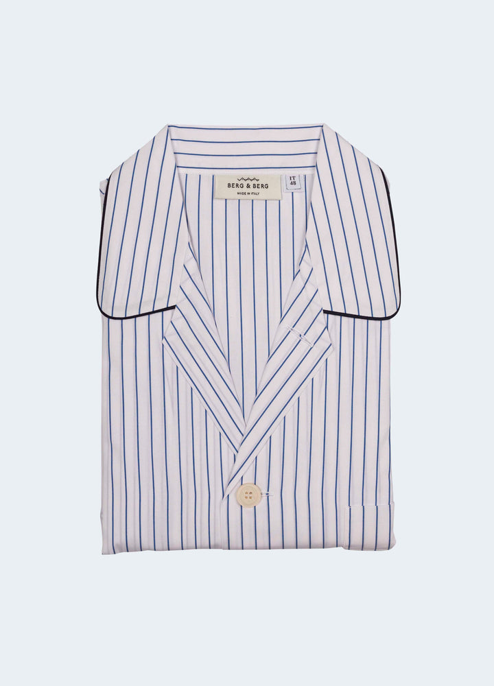 Evert Striped Cotton Pyjama - White/Navy Berg&Berg