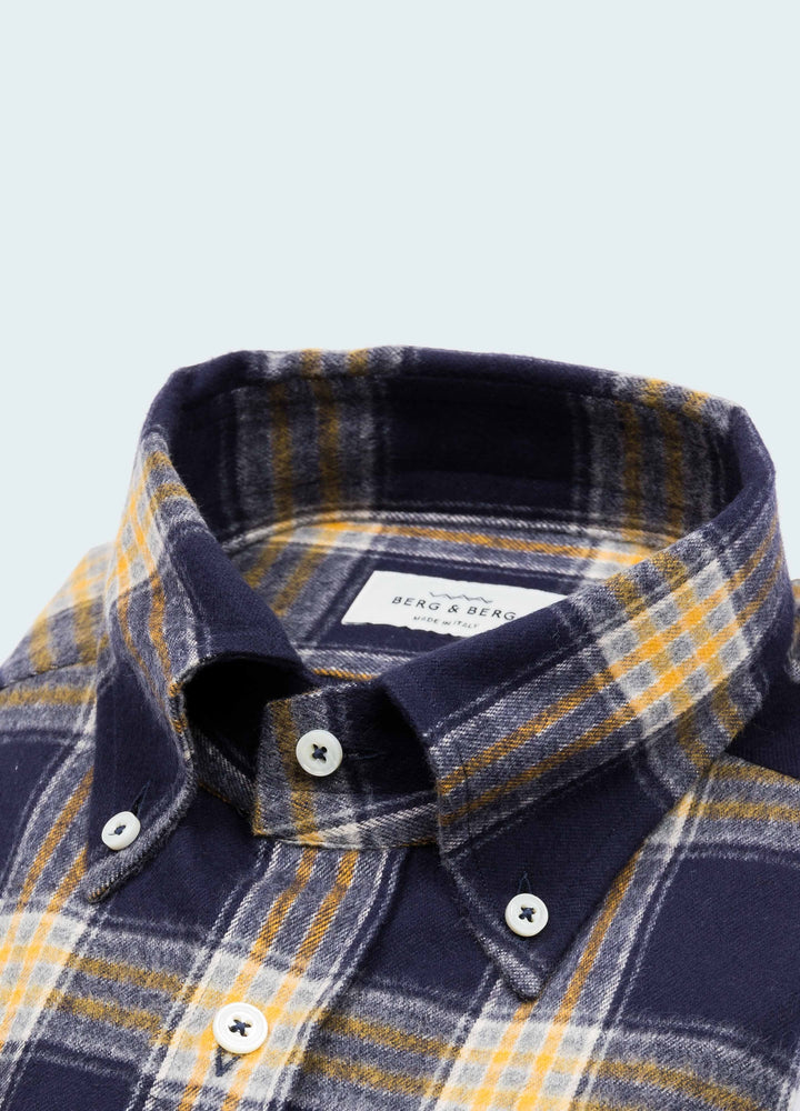 Ferdinand Flannel Button Down Shirt - Blue/Yellow Berg&Berg