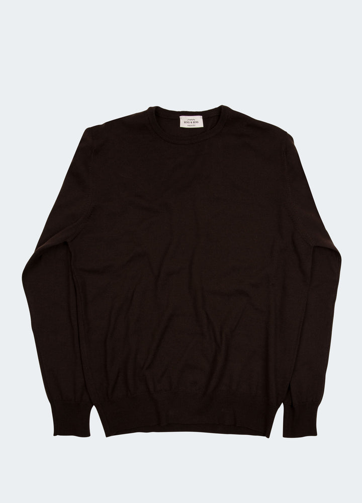 Bruno Merino Crew Neck - Dark Brown Berg&Berg