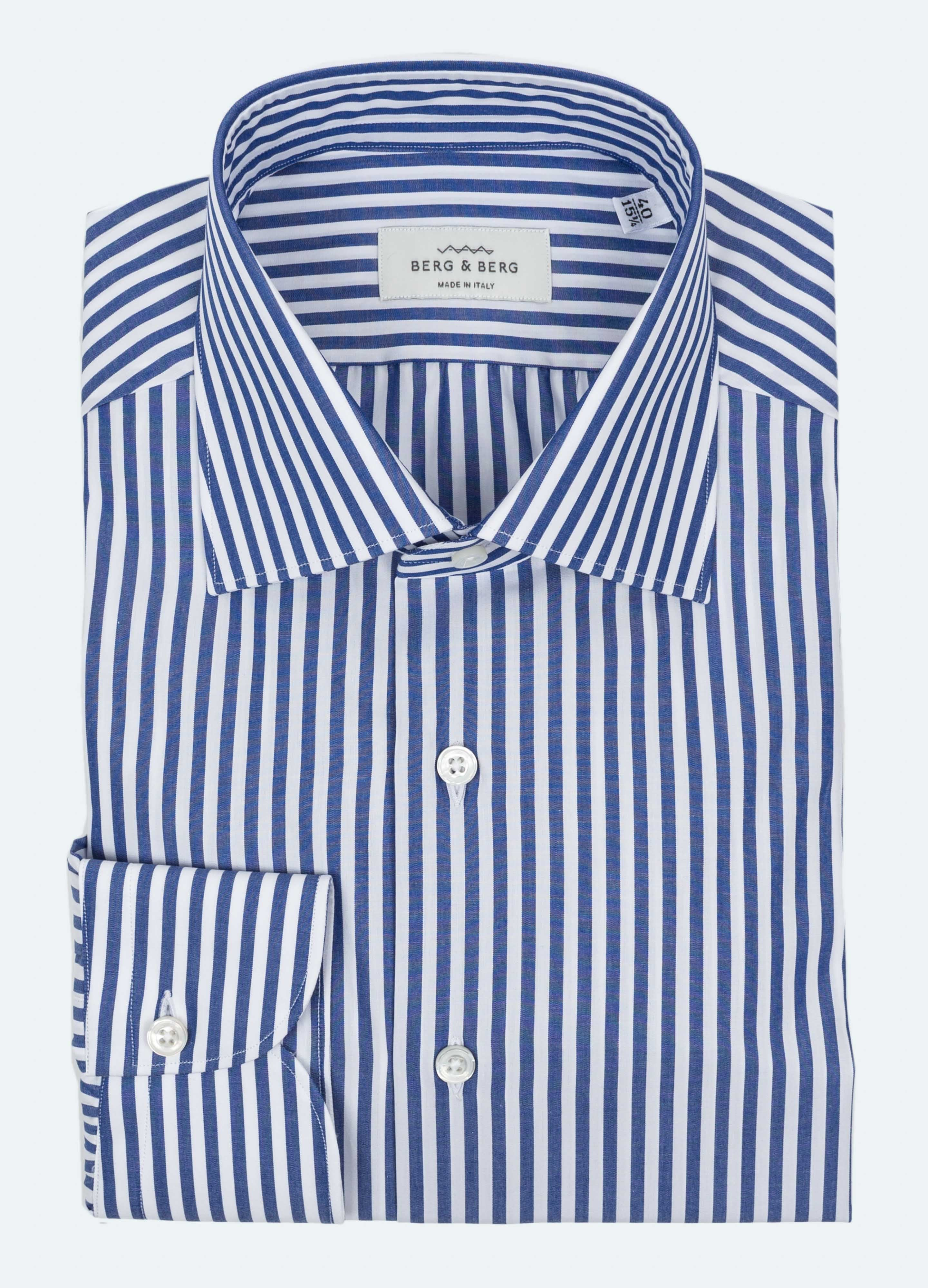 Handmade Striped Spread Collar Shirt