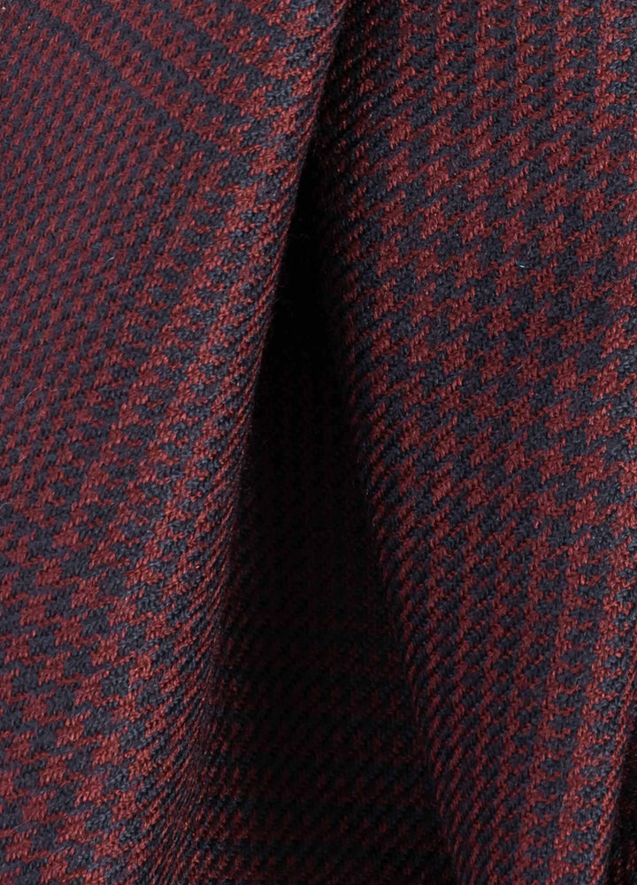 Glencheck Wool Scarf - Bordeaux/Blue Berg&Berg