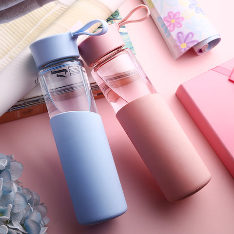Glass water bottle Leak-Proof Travel bottle Glass + Silicone
