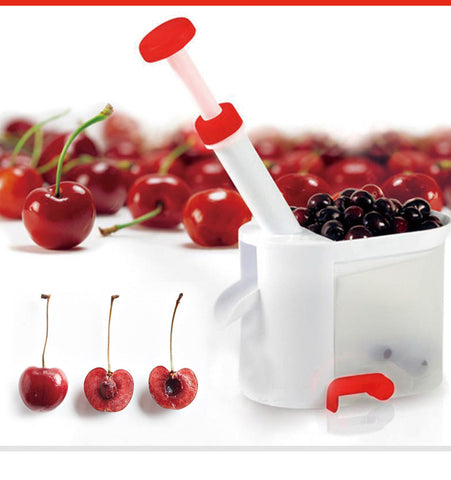 Easy Cherry Seed Remover Cherry Pitter Stone Picker Cherry Corer With Container Kitchen Gadgets.