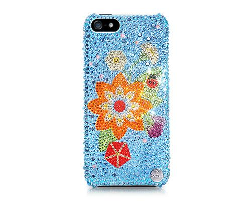 Ladybug On Leaves Bling Swarovski Crystal Phone Cases
