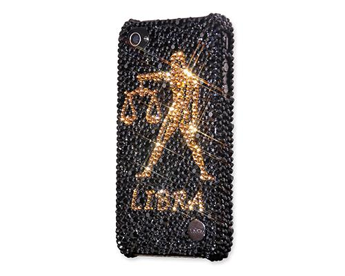 Horoscope Libra Bling Swarovski Crystal Phone Cases - Black Gold