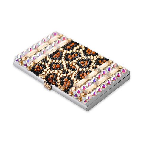 Leopard Stripe Bling Swarovski Crystal Business Card Case