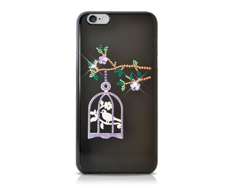 Cage On Tree Bling Swarovski Crystal Phone Cases - Black