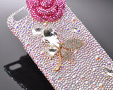 Butterfly Floral Bling Swarovski Crystal Phone Cases - Pink