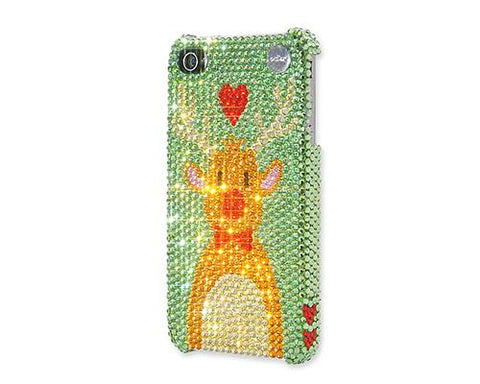 Christmas Rudolf Bling Swarovski Crystal iPhone 8 Cases - Green
