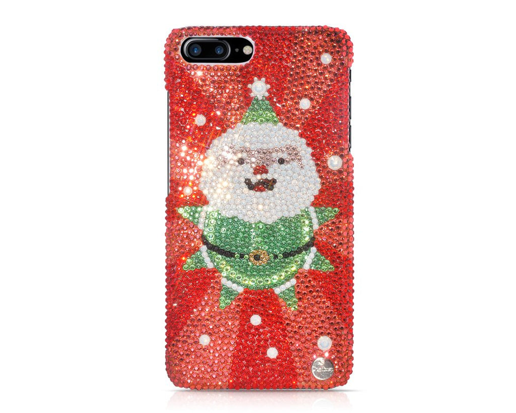 Christmas Cute Santa Bling Swarovski Crystal iPhone 8 Cases - Silver