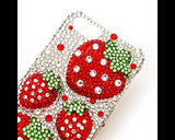 Strawberries 3D Bling Swarovski Crystal Phone Cases - Red
