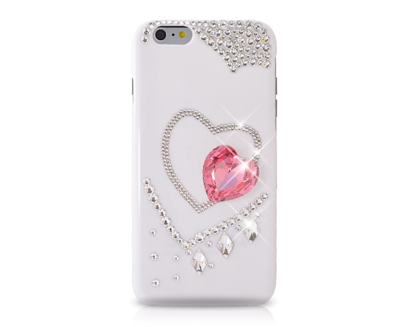 Inside Heart Bling Swarovski Crystal Phone Cases - White