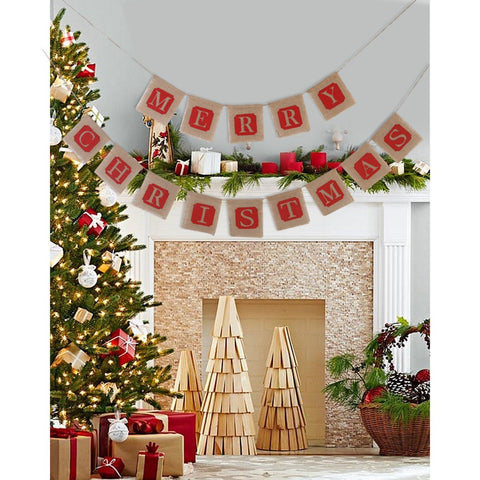 Christmas Banner Jute Burlap Banner for Christmas Decoration