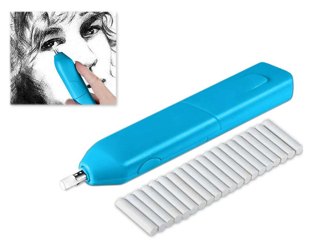Battery Operated Refillable Electronic Eraser Kit for Pencil and Charcoal - Blue