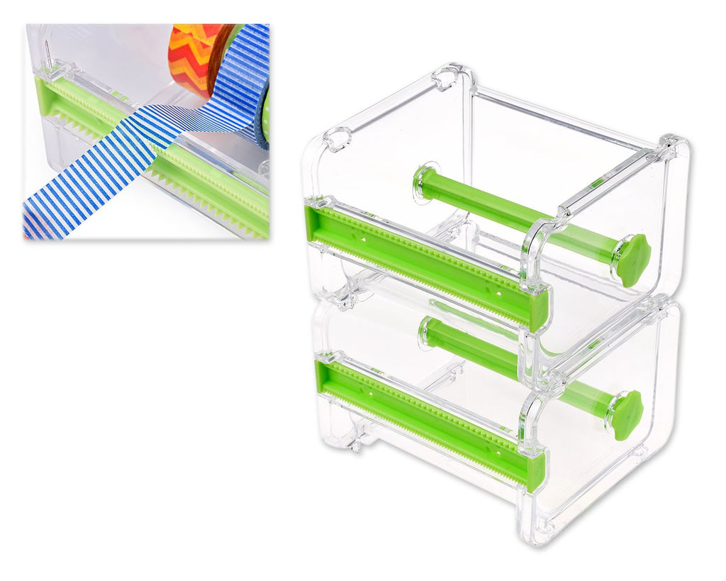 2 Pcs 1 Layer Washi Tape Dispensers - Transparent