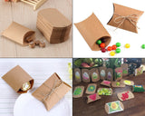 Pillow Shape Paper Candy Boxes 100 Pieces Kraft Gift Boxes