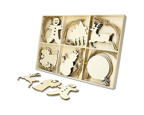 Christmas Wooden Ornaments 30 Pieces DIY Wood Slices with Strings