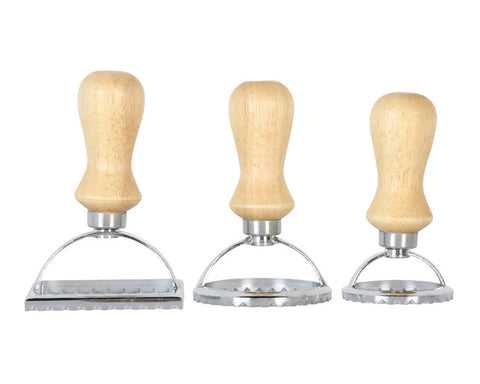 Ravioli Cutter Stamps Set of 3 Ravioli Molds with Wooden Handle