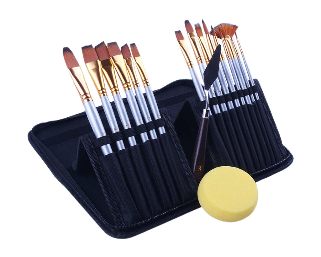 Paint Tools Set of 15 Paint Brushes with Painting Sponge and Palette Knife