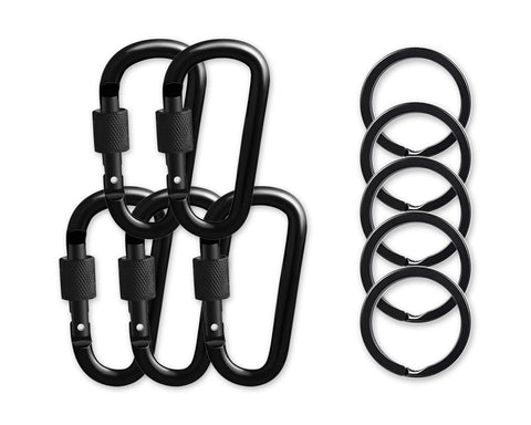Locking Carabiners Set of 5 Carabiner Clips with Key Rings