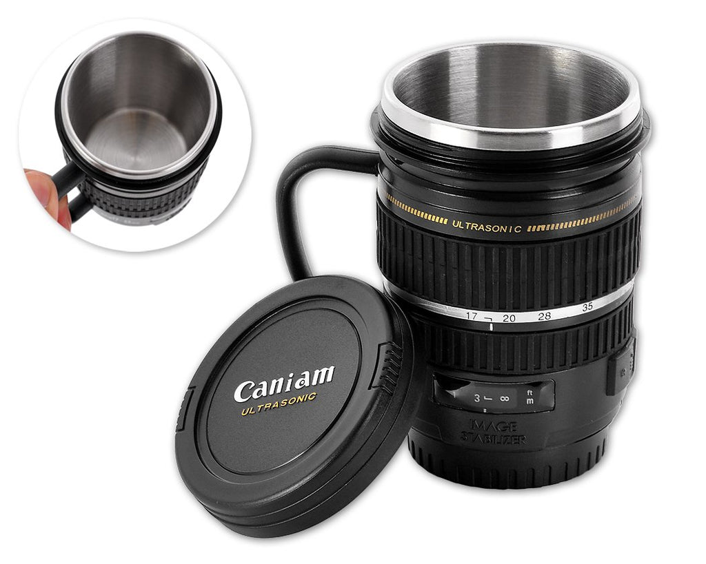 Stainless Steel Lens Like Coffee Mug Cup - Black