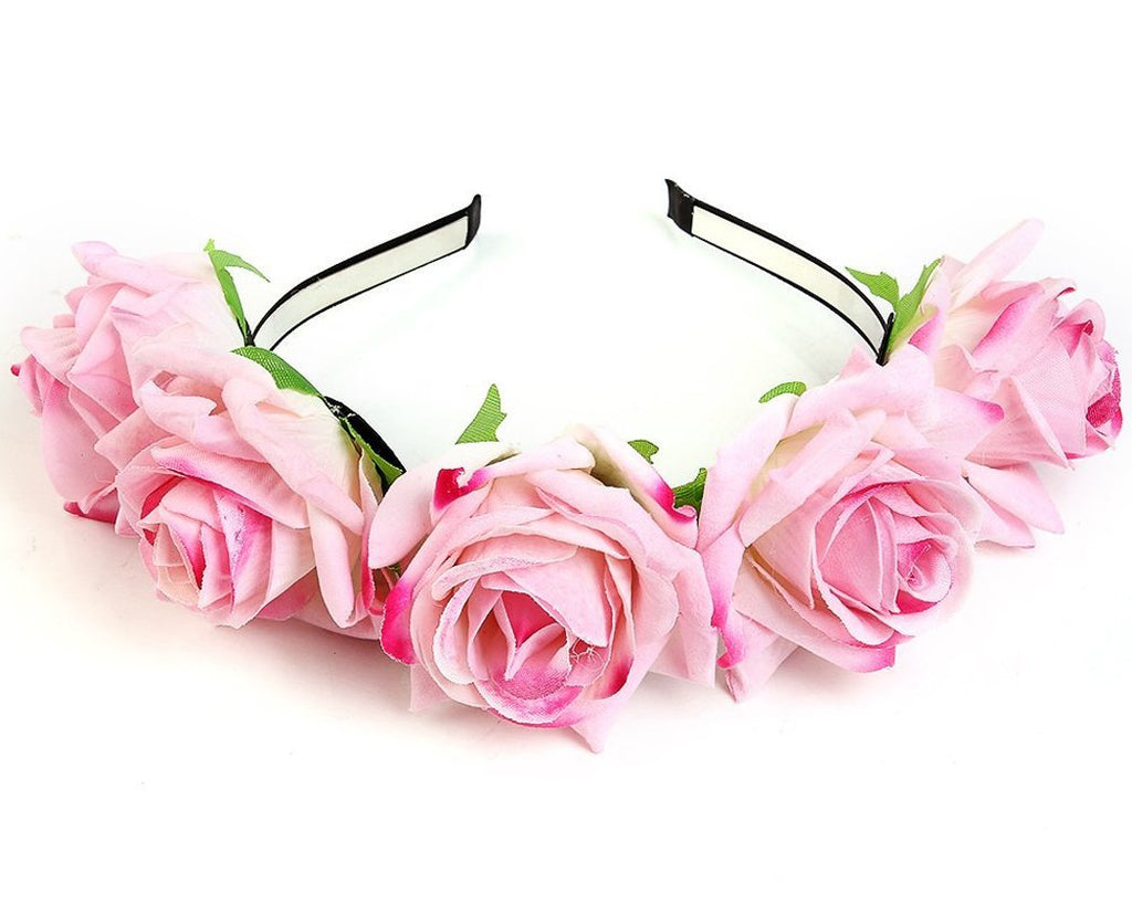 Headband with 5 Pcs Fabric Rose for Bride - Pink