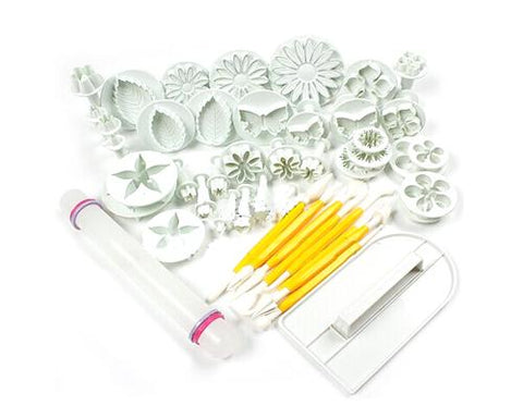 46 Pcs Flower Cookie Cutter Tool Set