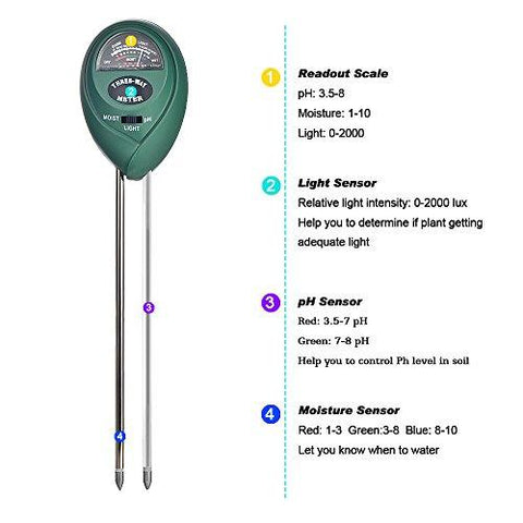 Oval Shaped 3-in-1 Soil Tester for pH Moisture and Light Measurement