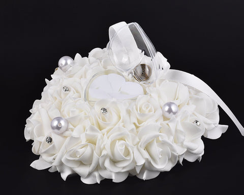 Wedding Ring Pillow for Ceremony Ring Bearer Cushion - White