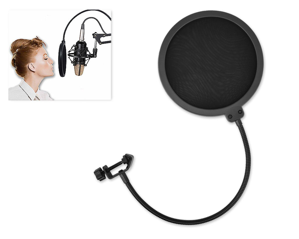Pop Screen for Broadcasting and Recording Microphone - Black