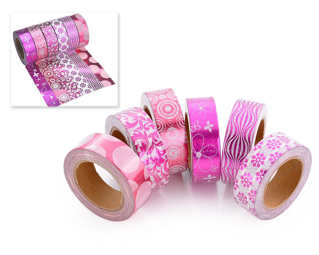 6 Pcs 1.5 cm Shinning Pattern Washi Masking Tape - Magenta