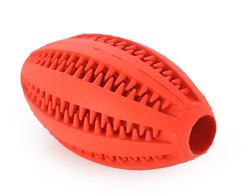 Non-Toxic Strong Rubber Dog Chew Ball Rugby Pet Toy - Red