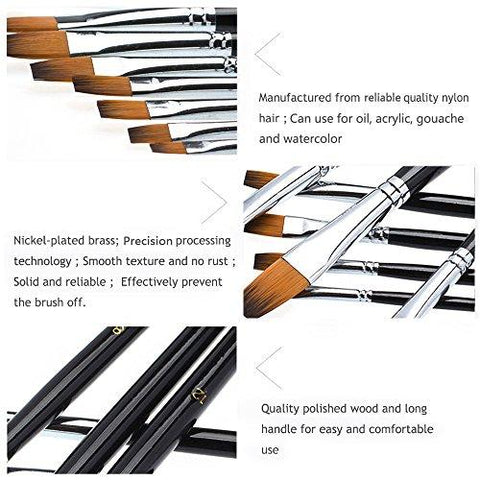 9 Pieces Flat Tipped Brushes