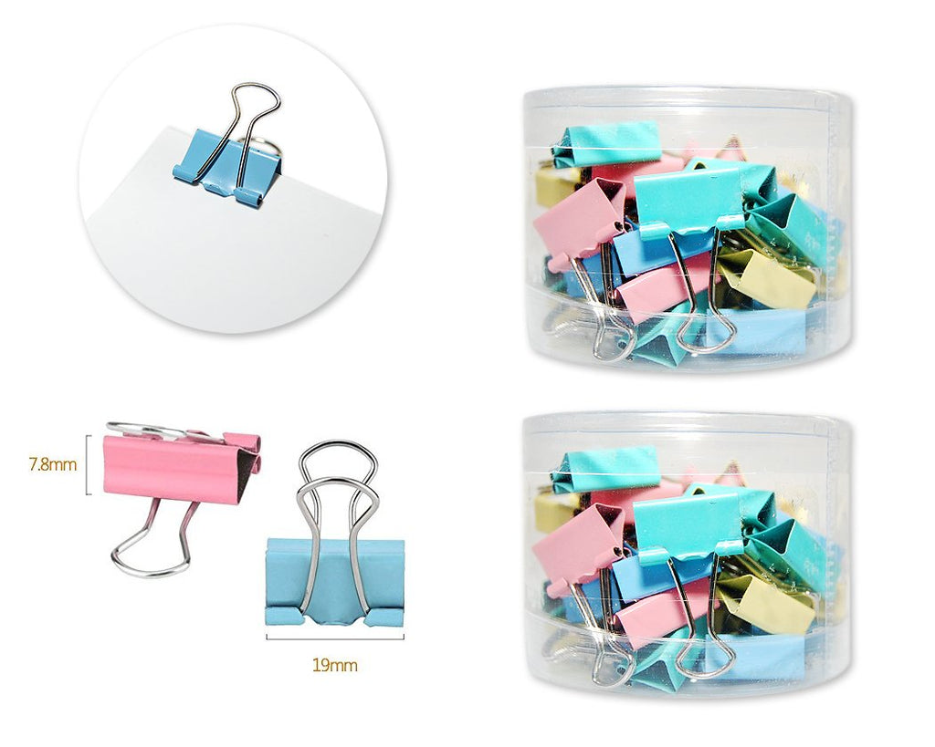 80 Pcs 19 mm Assorted Colors Binder Clips