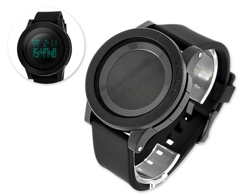 Waterproof Multifunction Digital LED Electric Sport Watch - Black