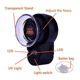 45X Mini Jewelry Loupe Magnifier with UV Lens and LED Light - Black