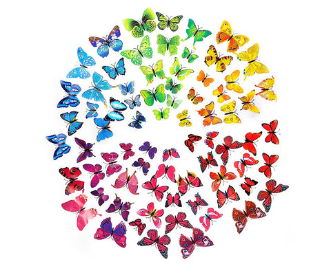 72 Pieces Colorful 3D Butterfly Wall Stickers