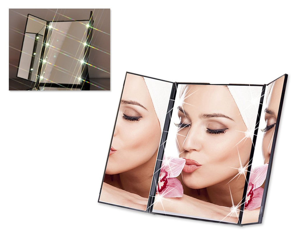 Tri-Fold LED Lighted Makeup Mirror