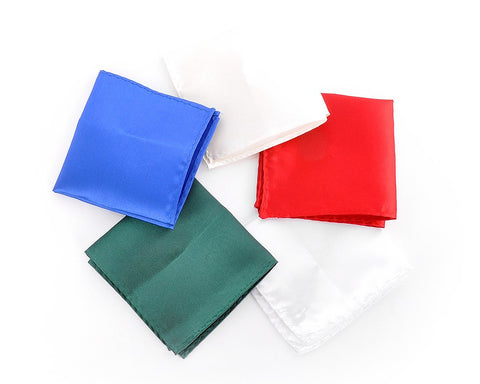5 Pcs Handmade Satin Pocket Squares with Black Gift Box
