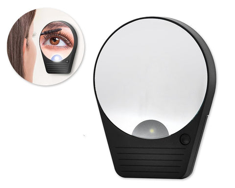10X Magnification LED Lighted Makeup Mirror with Suction Cup - Black