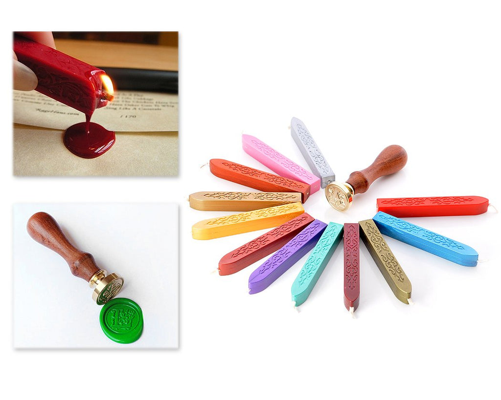 12 Pcs Colorful Seal Wax Sticks with Wick