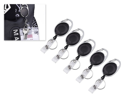 5 Pcs Retractable Badge Holders for Key Cards - Black
