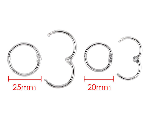 100 pieces 2cm and 2.5cm Metal Binder Rings