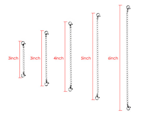 Stainless Steel Necklace Extenders Set of 5