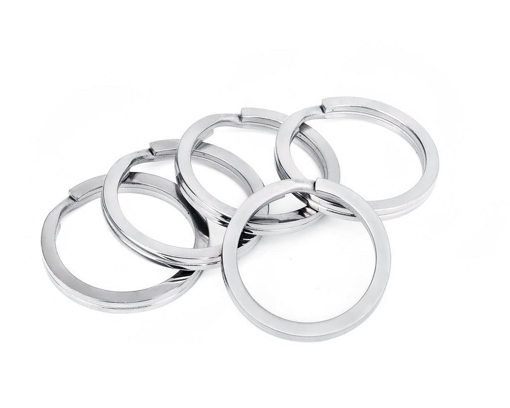 1.26 Inch Round Flat Key Chain Rings Titanium Alloy Split Ring Set of 5