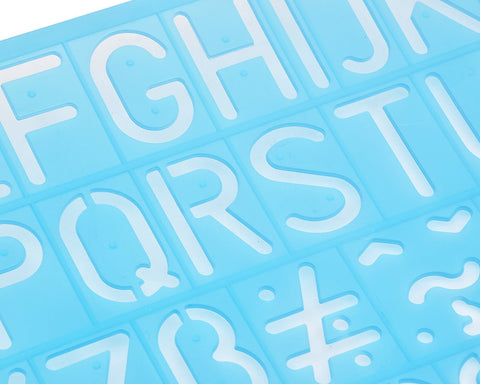 Plastic Alphabet and Number Stencils Set of 4 - Blue