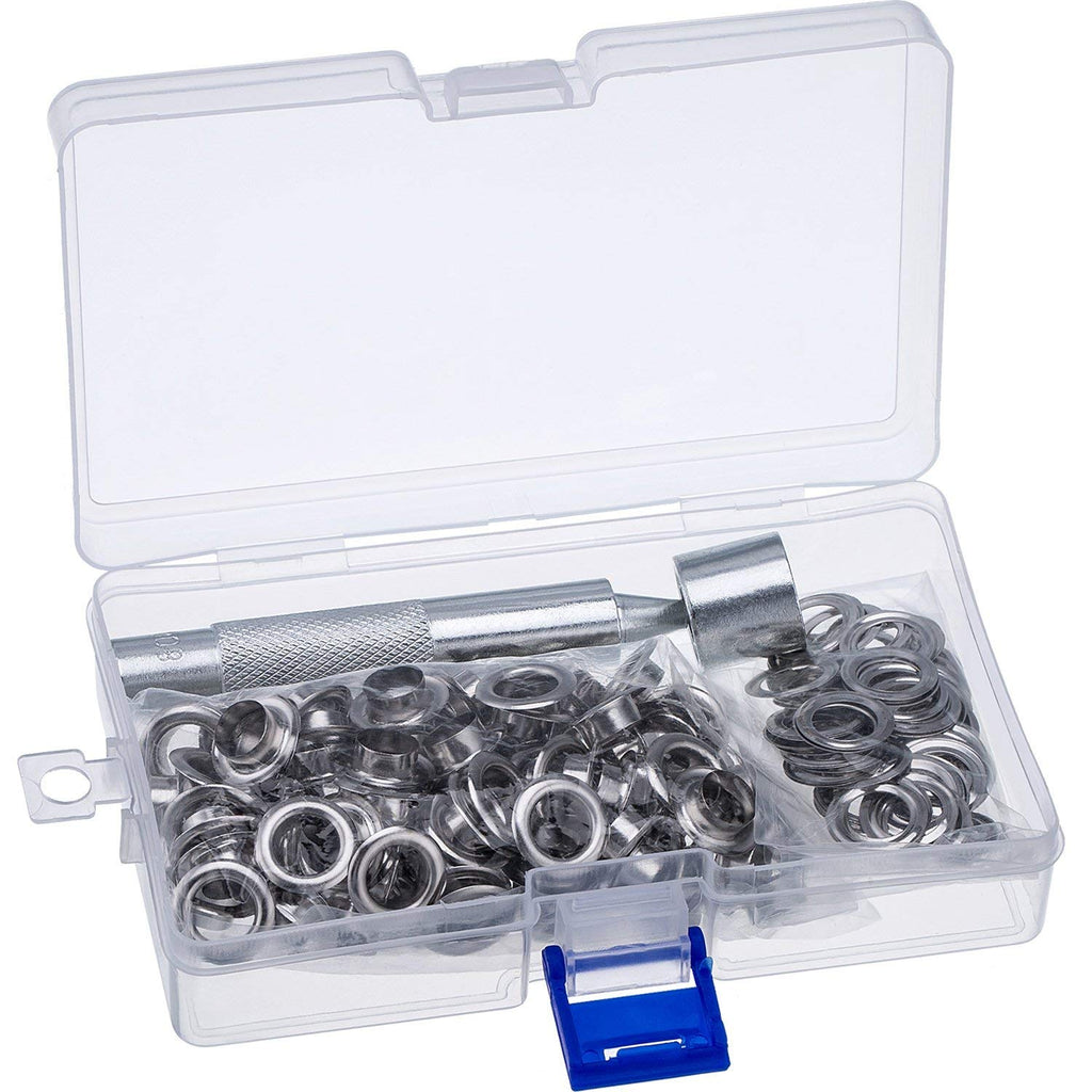 Grommet Kit with 100 Sets 2/5 Inch Brass Grommets
