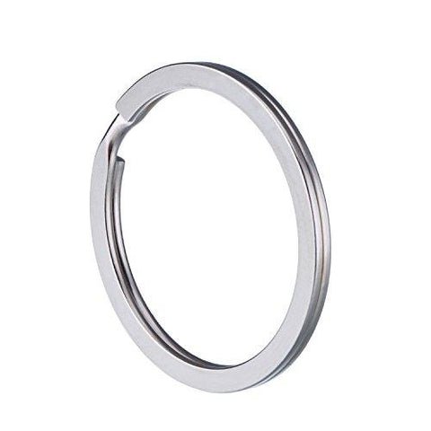 Round Flat Key Chain Rings Set of 40 - Silver